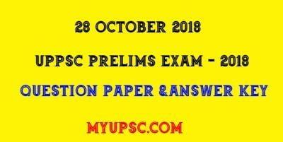 UPPSC PRE EXAM 2018 ANSWER KEY