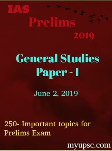 250-Important topics for UPSC IAS Prelims Exam 2019